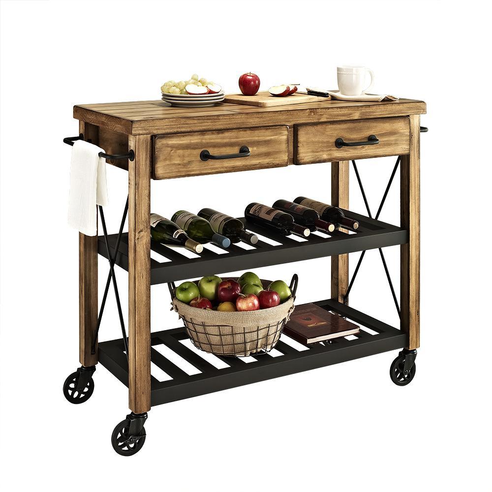 Roots Rack Kitchen Cart Pine: Roots Rack Industrial Kitchen Cart