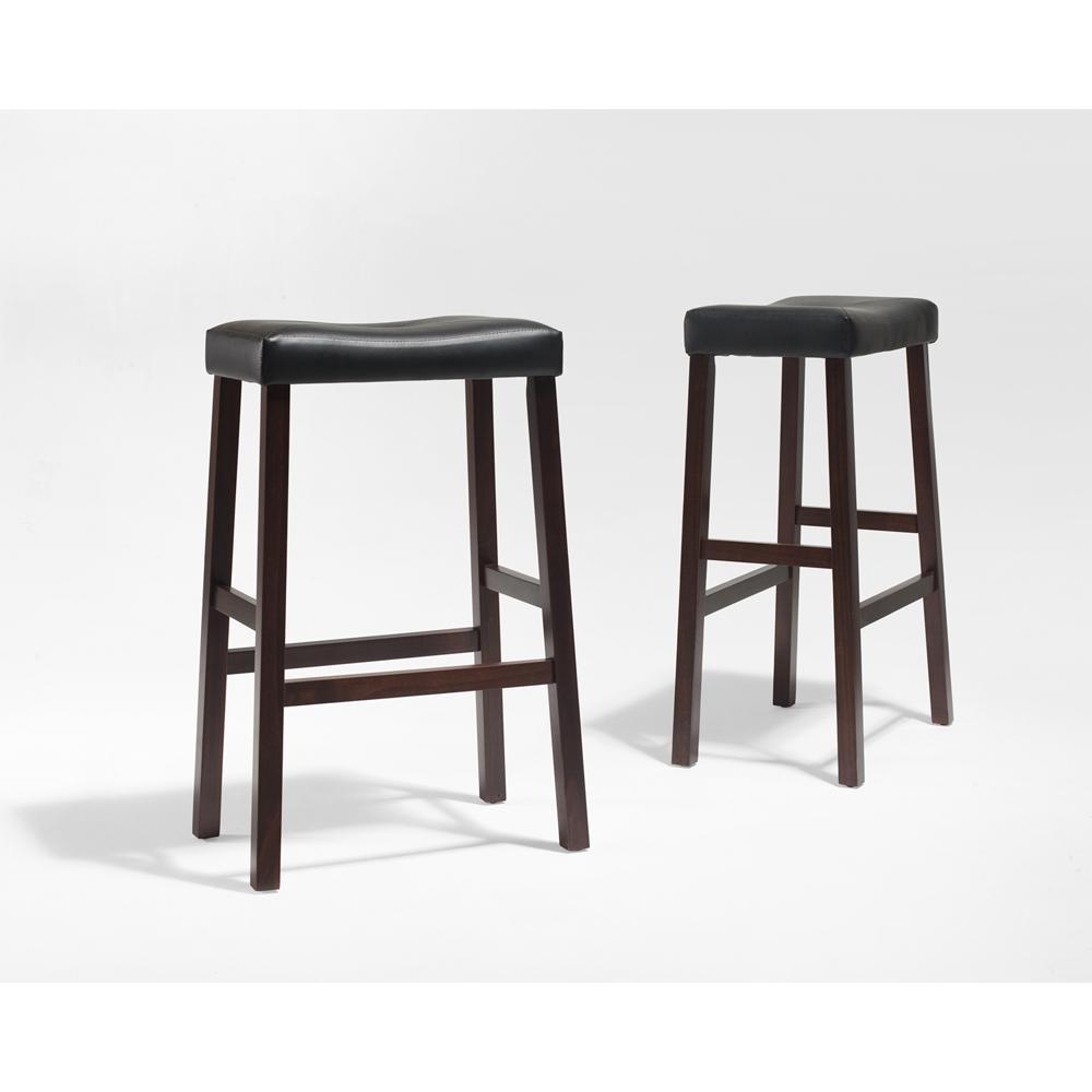 Upholstered Saddle Seat Bar Stool In Vintage Mahogany