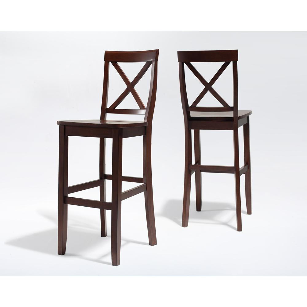X Back Bar Stool In Mahogany Finish With 30 Inch Seat