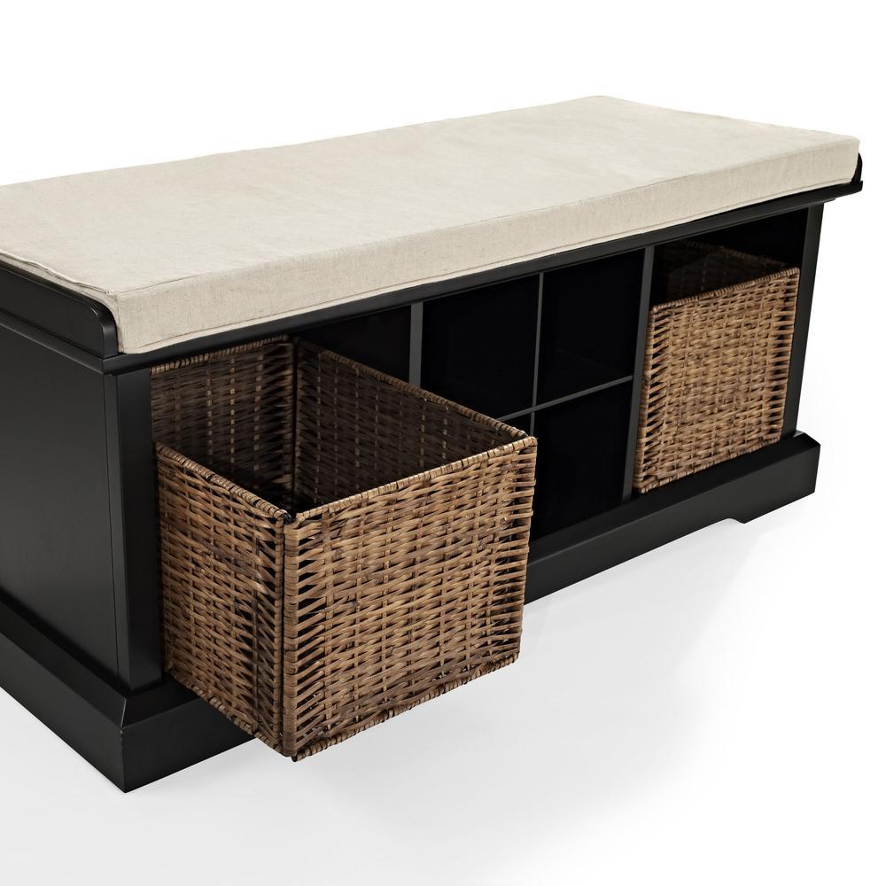 Wondrous Brennan Storage Bench Black Tan Bench 2 Wicker Basekets Frankydiablos Diy Chair Ideas Frankydiabloscom