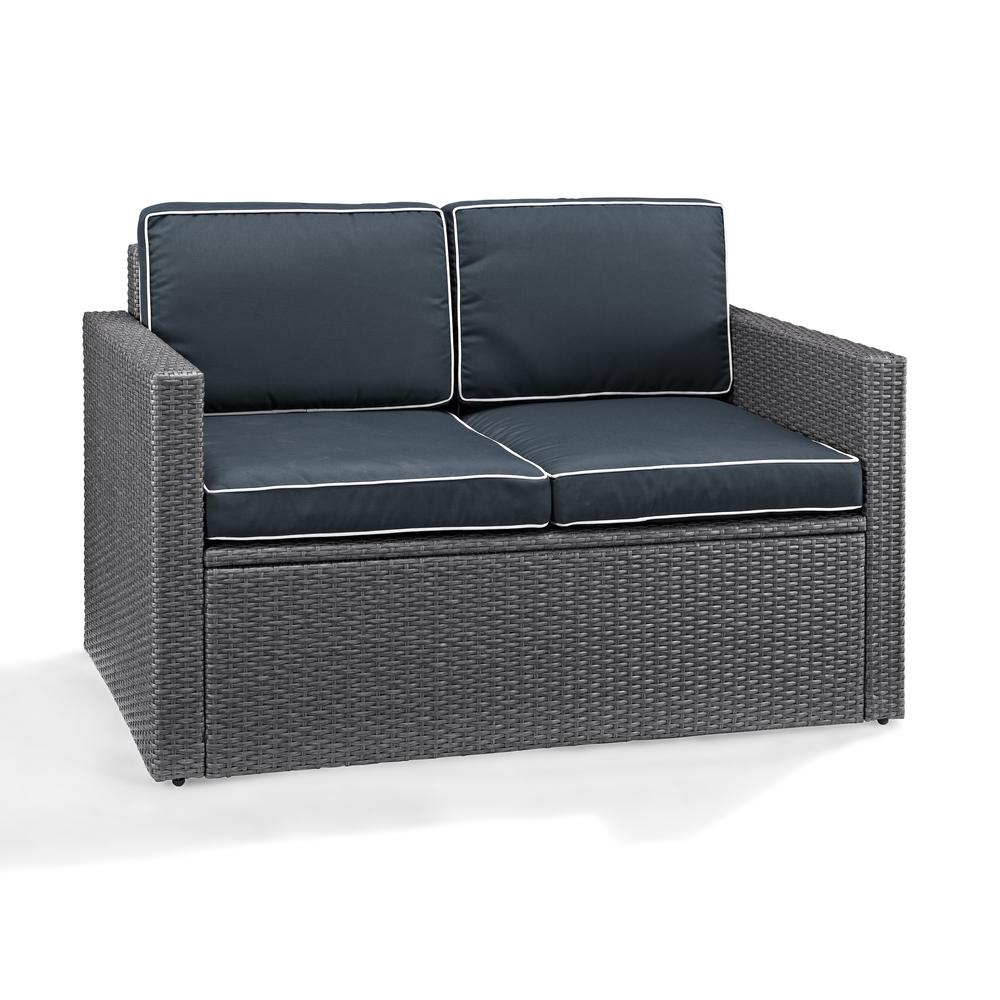 Palm Harbor Outdoor Loveseat In Grey Wicker With Navy Cushions