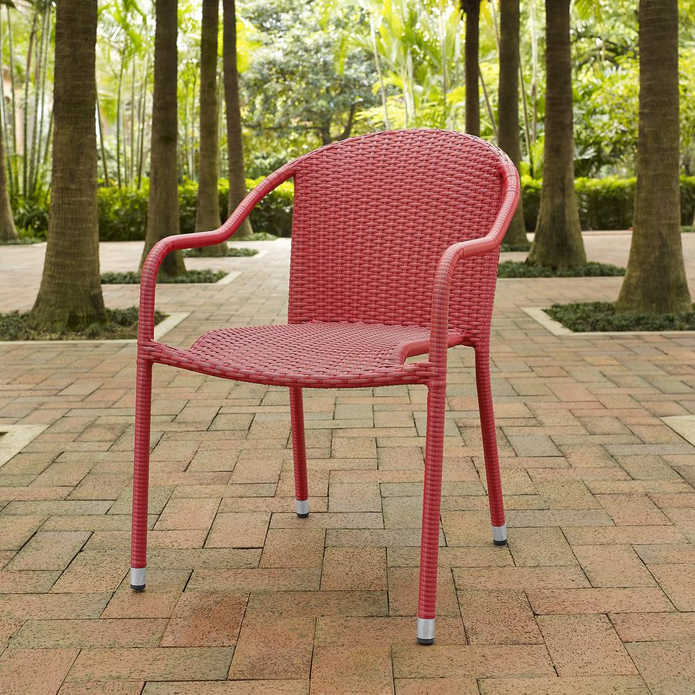 Palm Harbor Outdoor Wicker Stackable Chairs Set Of 4 Red