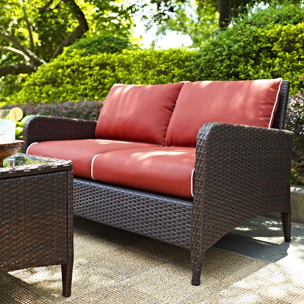 Kiawah Outdoor Wicker Loveseat With Sangria Cushions: loveseat cushions outdoor