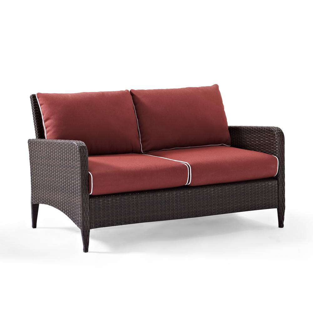 Kiawah outdoor wicker loveseat with sangria cushions Loveseat cushions for outdoor furniture