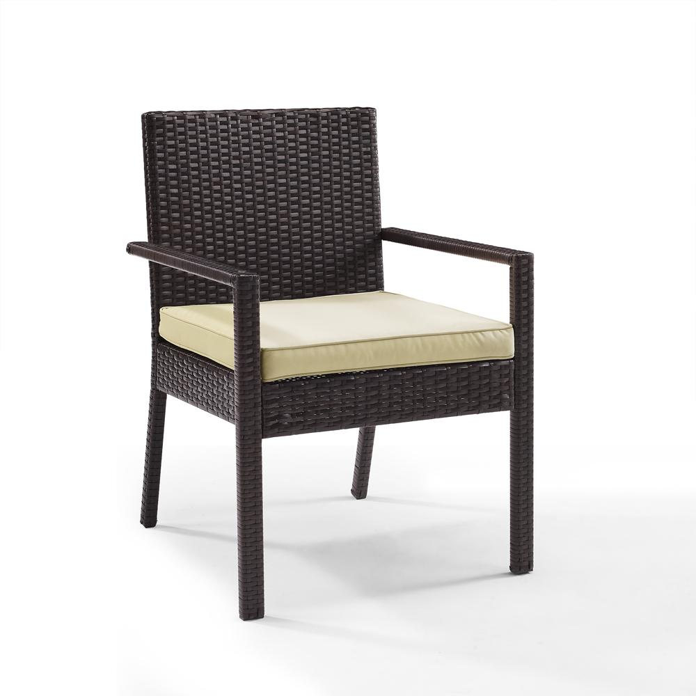 Palm harbor outdoor wicker dining chair set of two for Outdoor dining chair