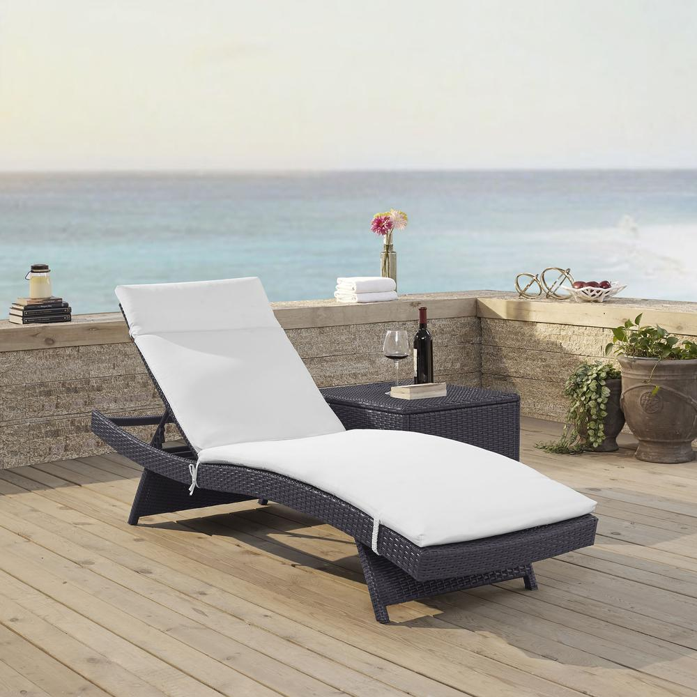 Biscayne Outdoor Wicker Chaise Lounge White Brown