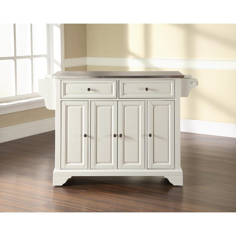 Lafayette Stainless Steel Top Full Size Kitchen Island/Cart White/Stainless  Steel