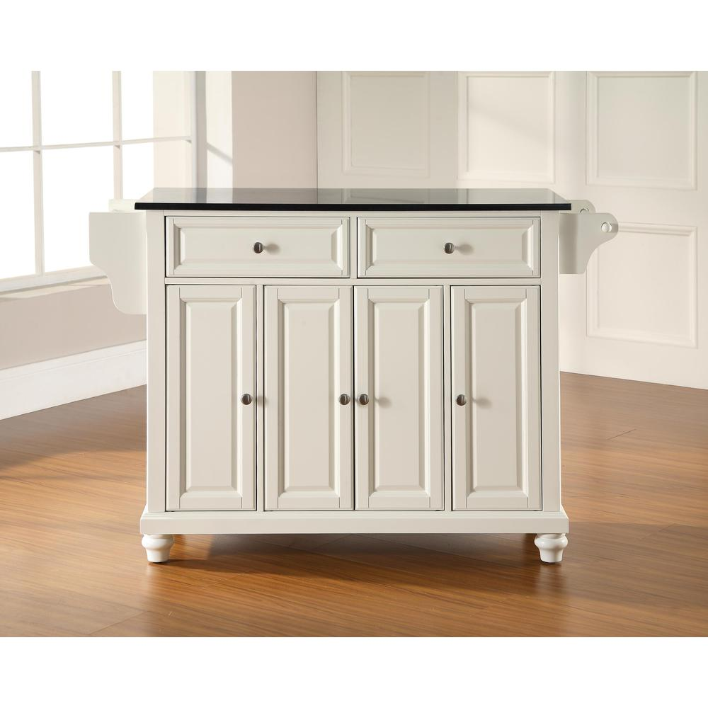 Cambridge Granite Top Full Size Kitchen Island/Cart White/Black