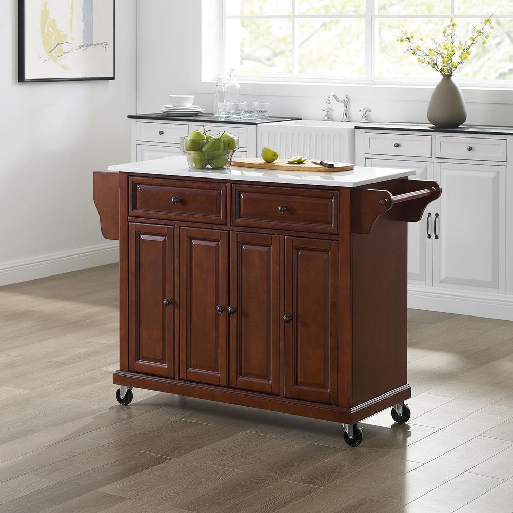 Full Size Granite Top Kitchen Cart Mahogany/White. Picture 1