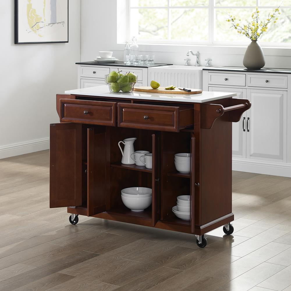 Full Size Granite Top Kitchen Cart Mahogany/White. Picture 2