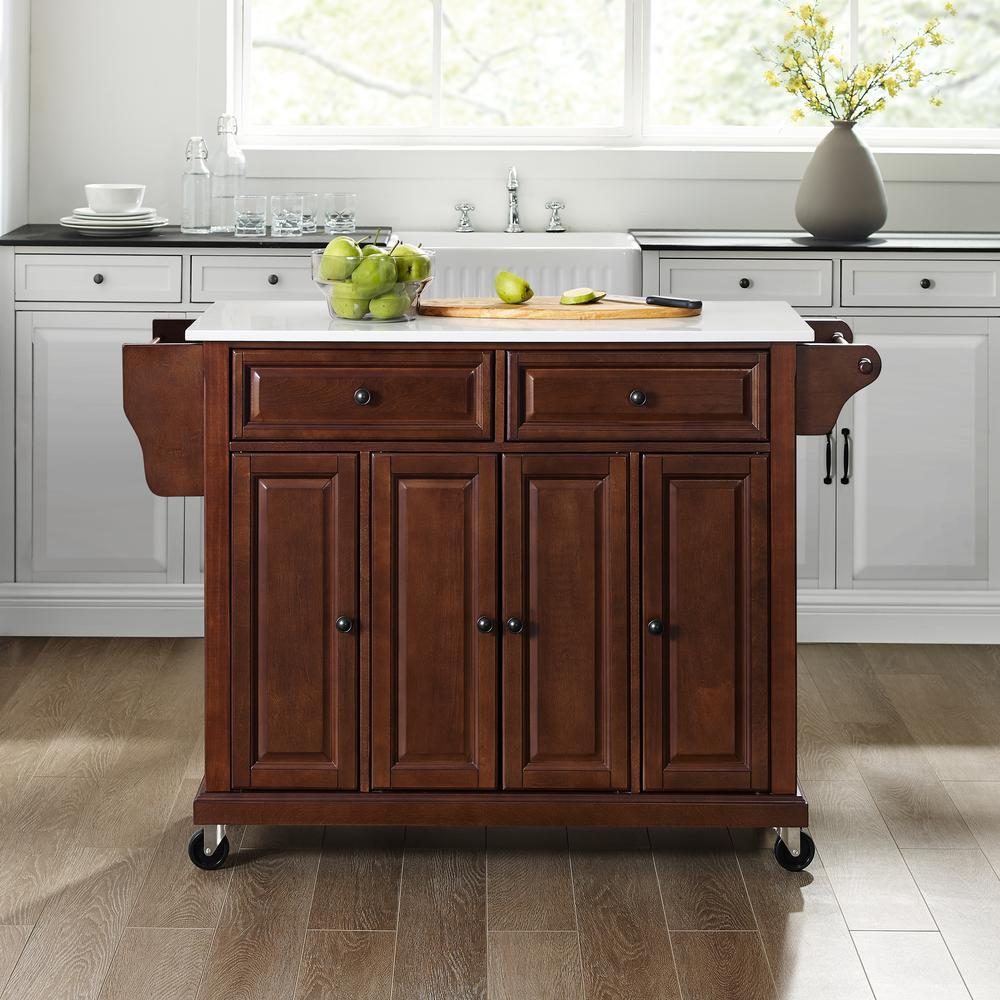 Full Size Granite Top Kitchen Cart Mahogany/White. Picture 3