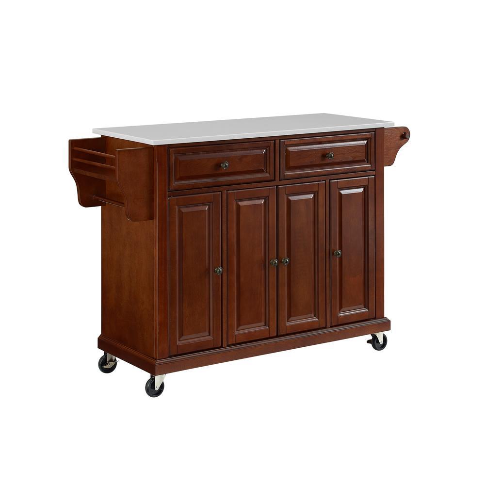 Full Size Granite Top Kitchen Cart Mahogany/White. Picture 4