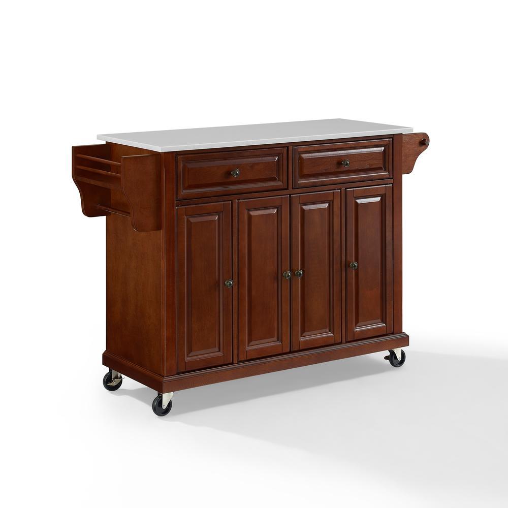 Full Size Granite Top Kitchen Cart Mahogany/White. Picture 7