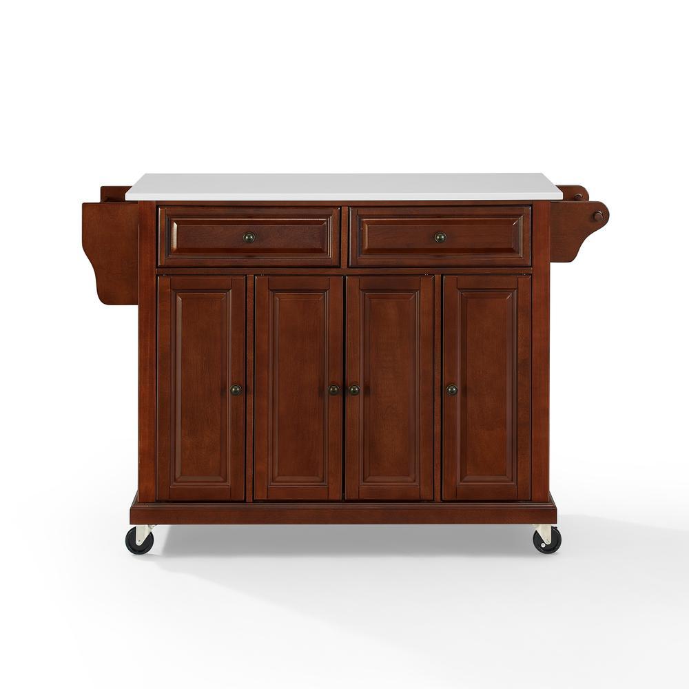 Full Size Granite Top Kitchen Cart Mahogany/White. Picture 8
