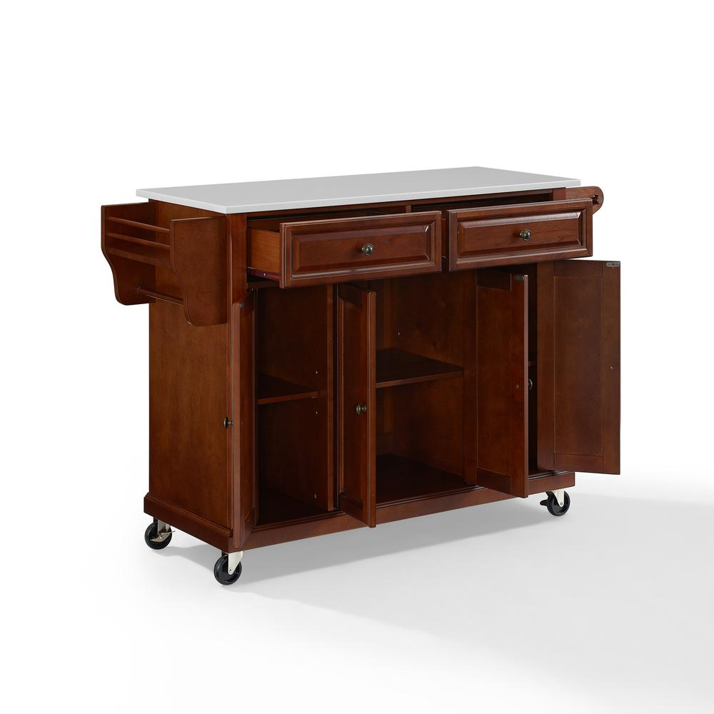 Full Size Granite Top Kitchen Cart Mahogany/White. Picture 9
