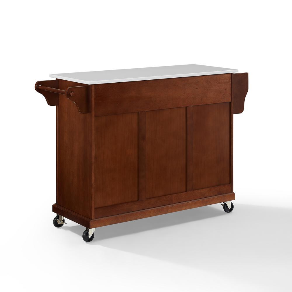 Full Size Granite Top Kitchen Cart Mahogany/White. Picture 10