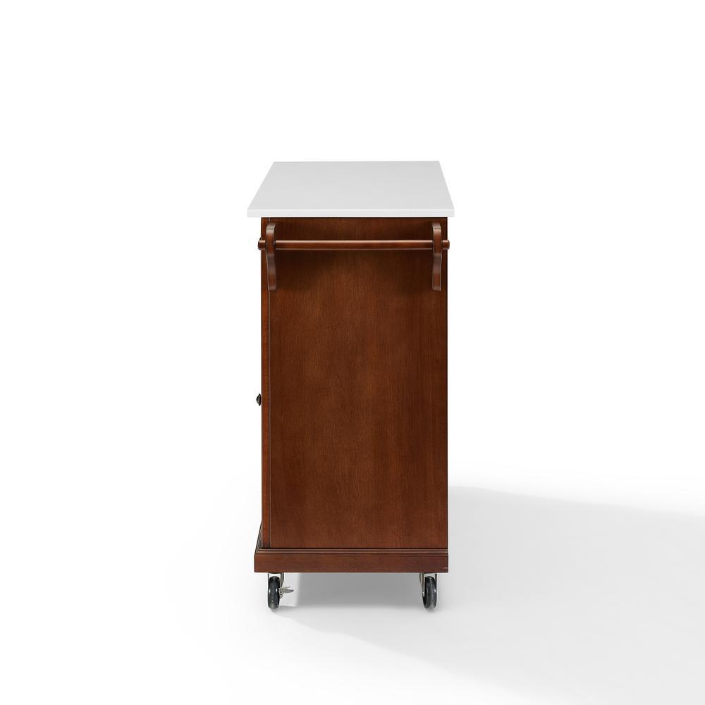 Full Size Granite Top Kitchen Cart Mahogany/White. Picture 11