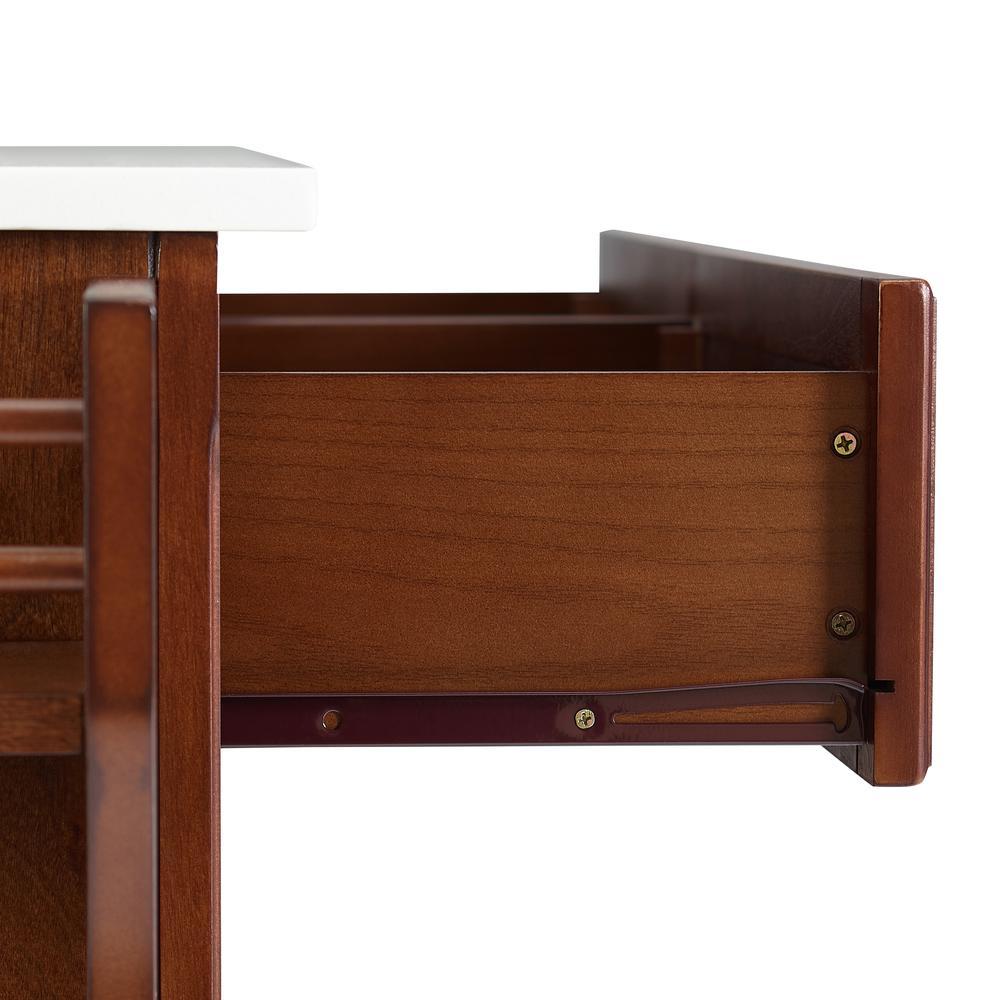 Full Size Granite Top Kitchen Cart Mahogany/White. Picture 12