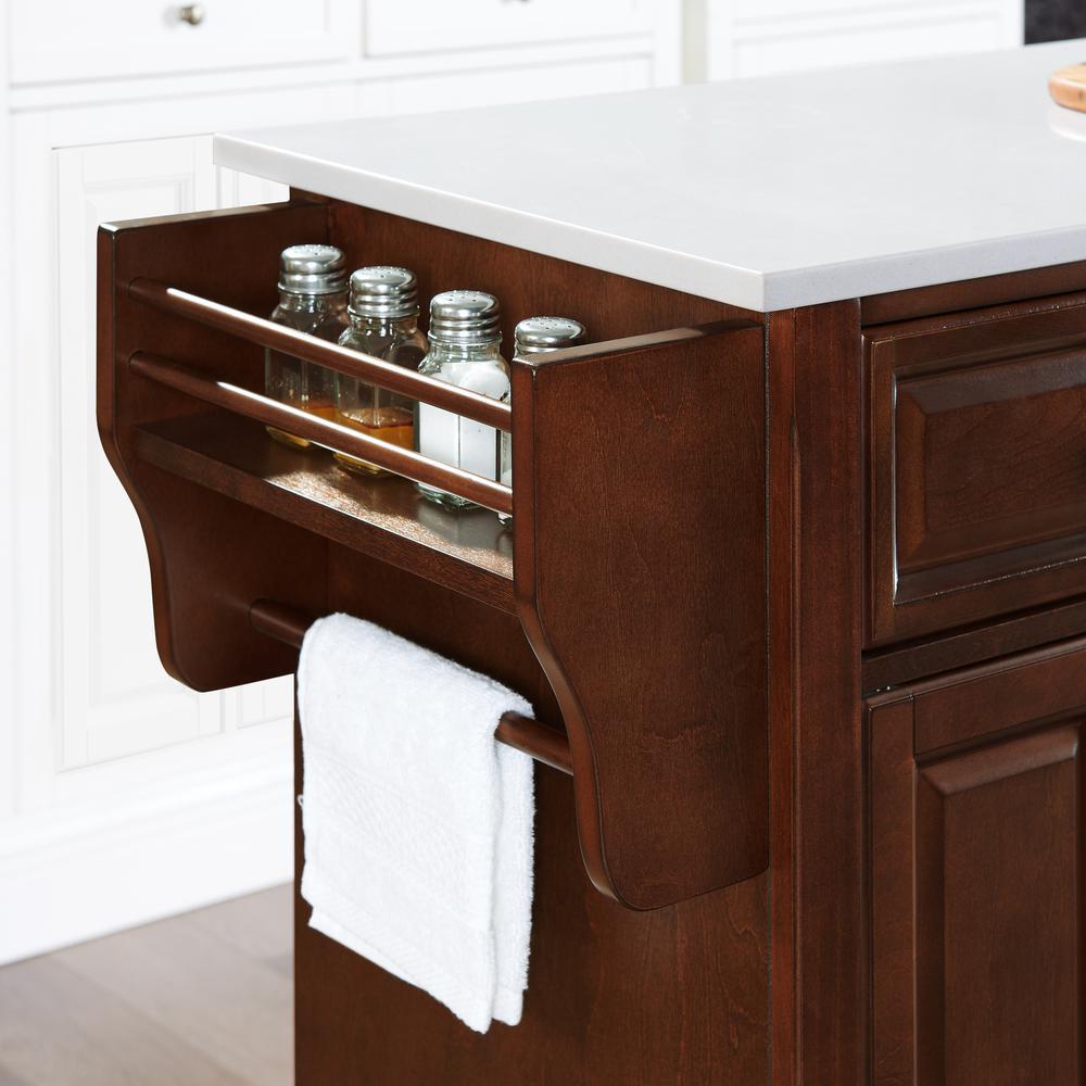 Full Size Granite Top Kitchen Cart Mahogany/White. Picture 13