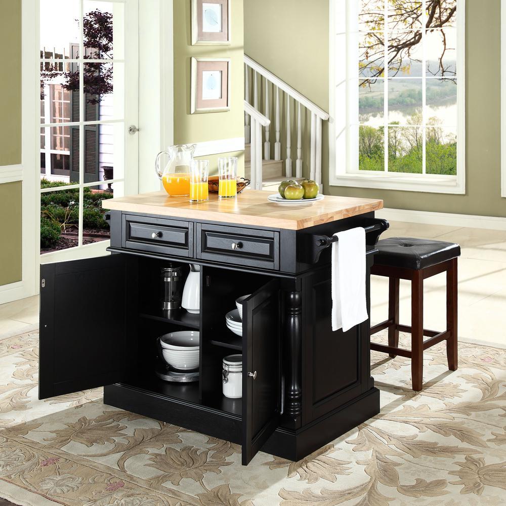 Oxford kitchen island w square seat stools black kitchen - Square kitchen island with seating ...