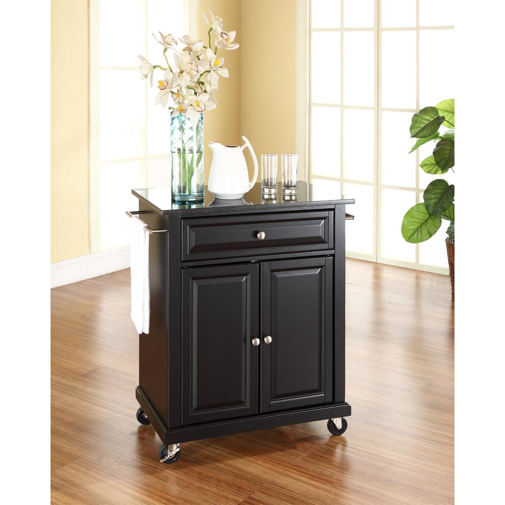 Compact Granite Top Portable Kitchen Island/Cart Black/Black
