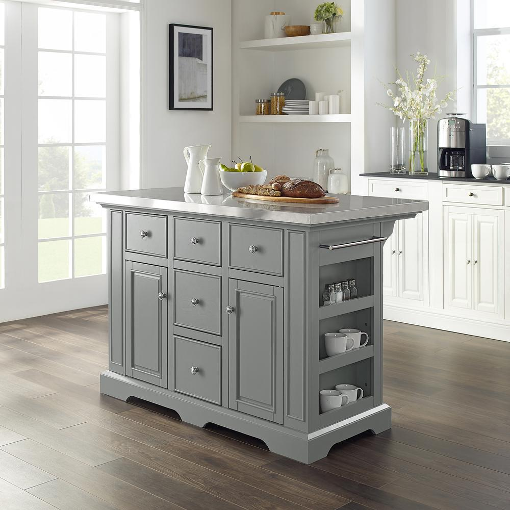 Julia Kitchen Island Gray/Stainless Steel. Picture 1
