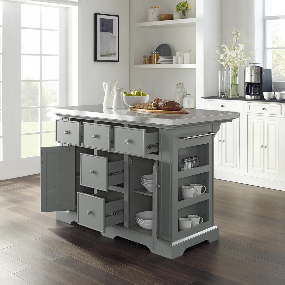 Julia Kitchen Island Gray/Stainless Steel. Picture 2