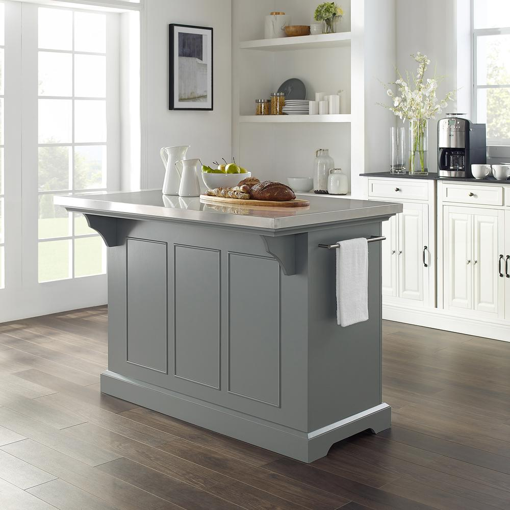 Julia Kitchen Island Gray/Stainless Steel. Picture 3