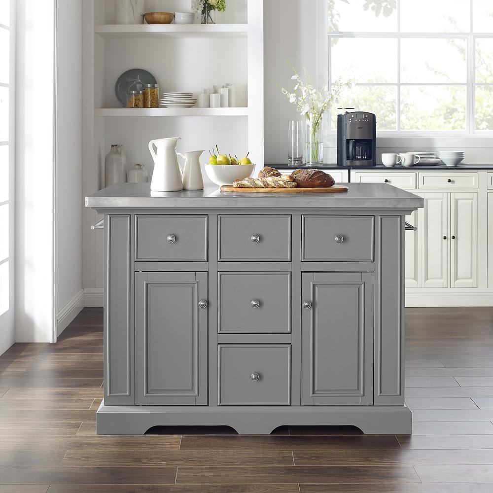 Julia Kitchen Island Gray/Stainless Steel. Picture 4
