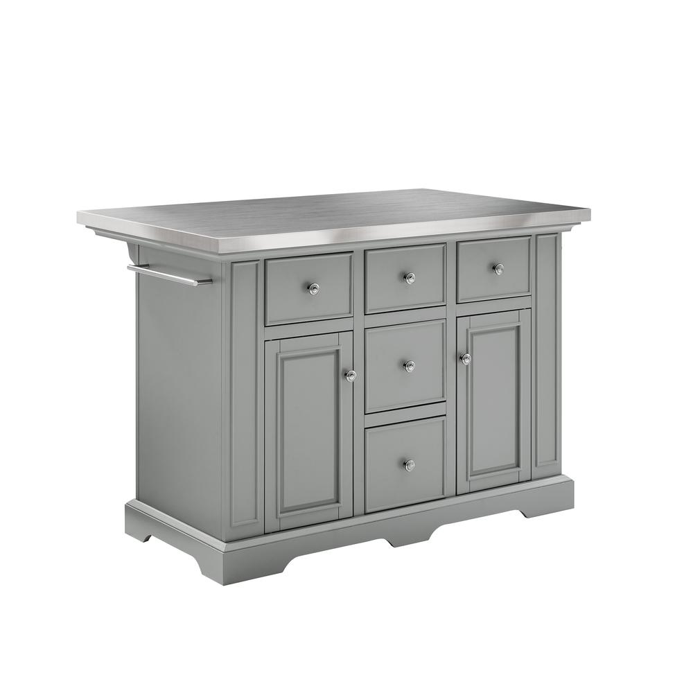 Julia Kitchen Island Gray/Stainless Steel. Picture 5
