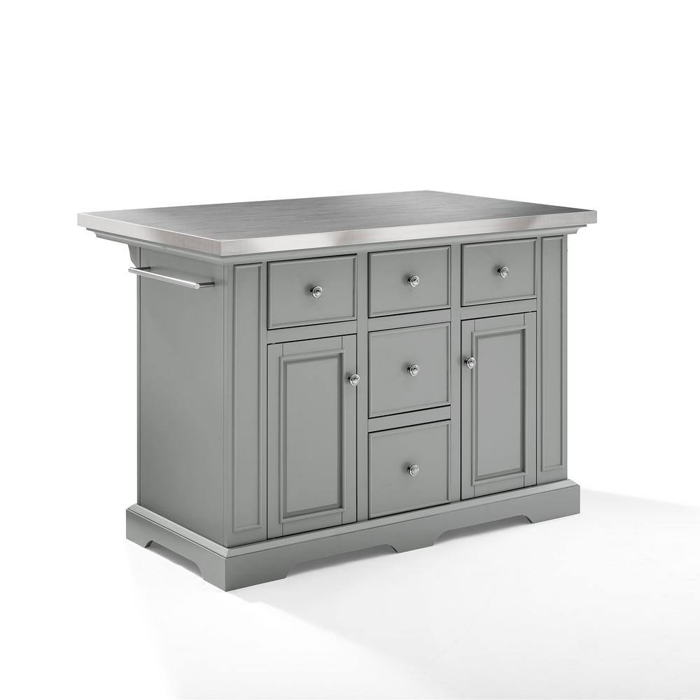 Julia Kitchen Island Gray/Stainless Steel. Picture 9