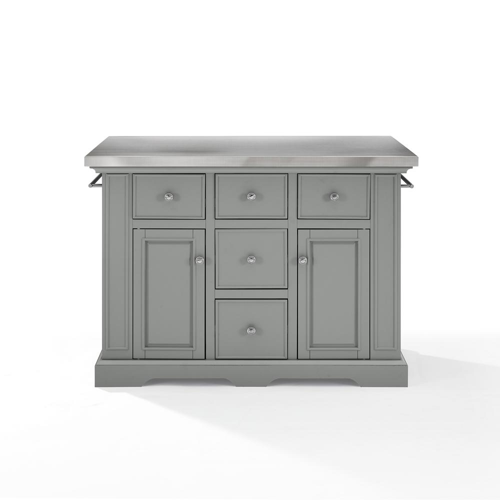 Julia Kitchen Island Gray/Stainless Steel. Picture 10