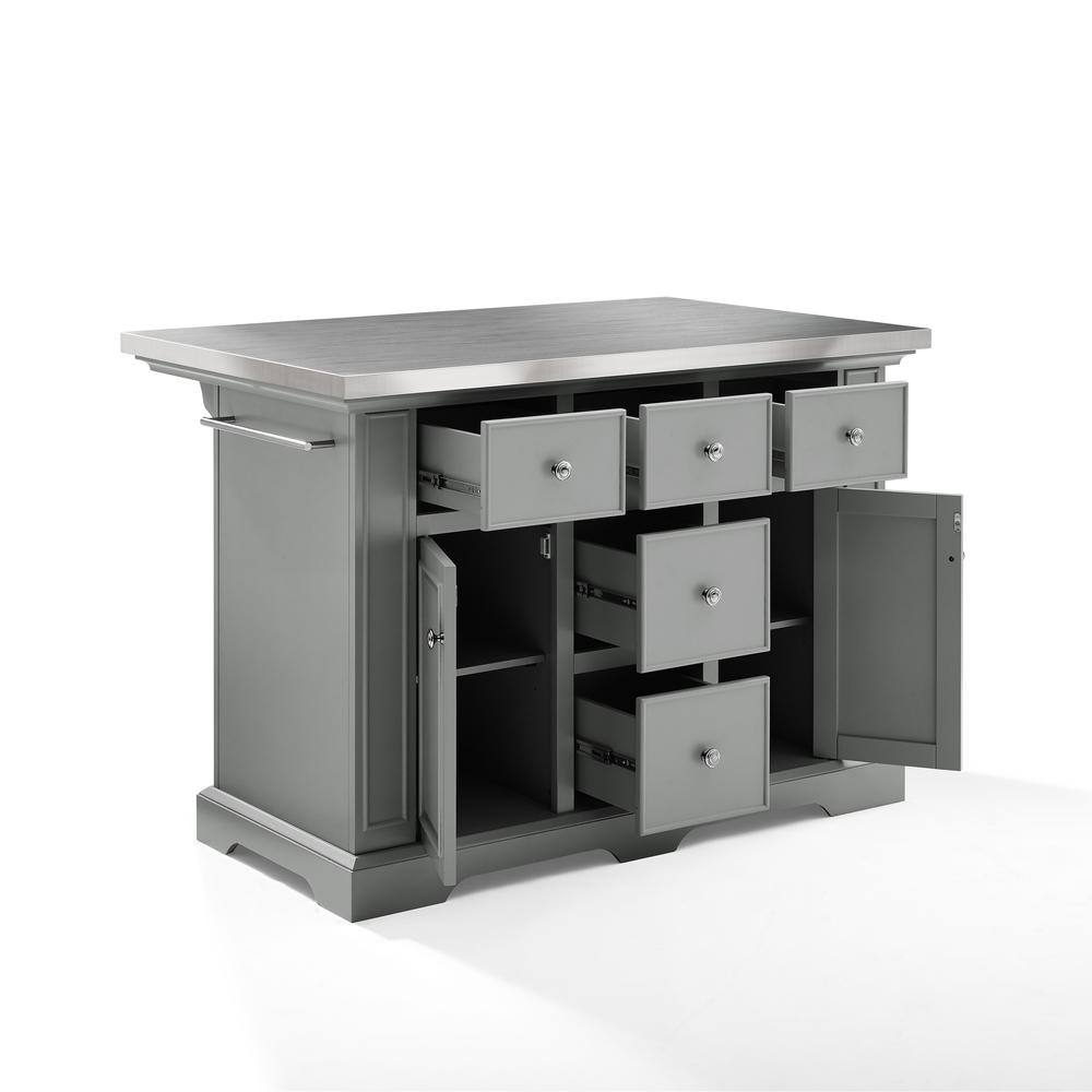 Julia Kitchen Island Gray/Stainless Steel. Picture 11