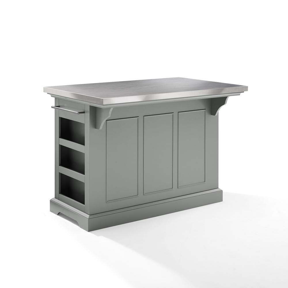 Julia Kitchen Island Gray/Stainless Steel. Picture 12