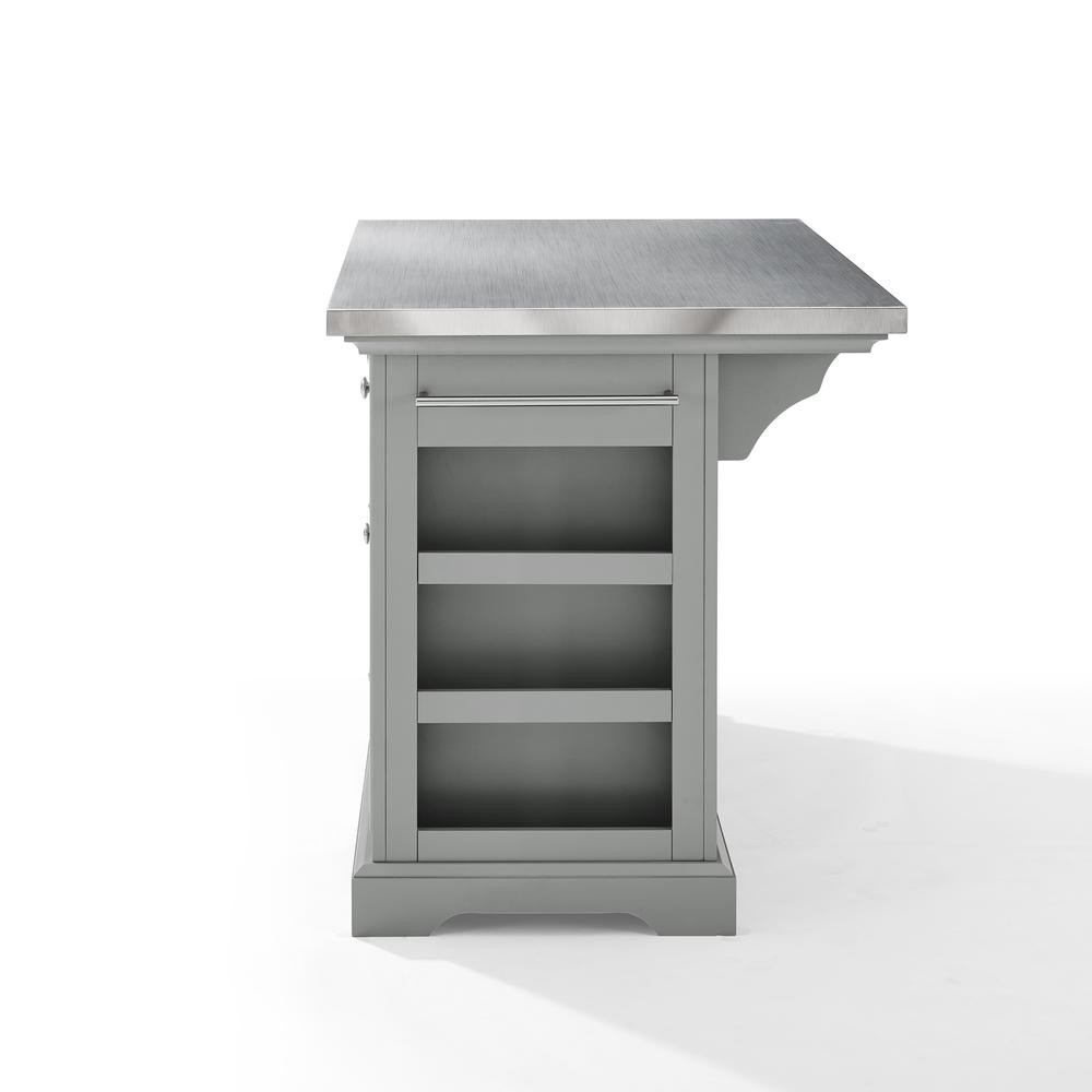 Julia Kitchen Island Gray/Stainless Steel. Picture 14