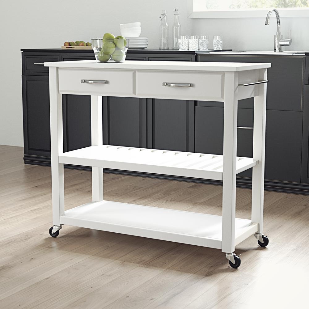 Full Size Granite Top Kitchen Prep Cart White/White. Picture 1