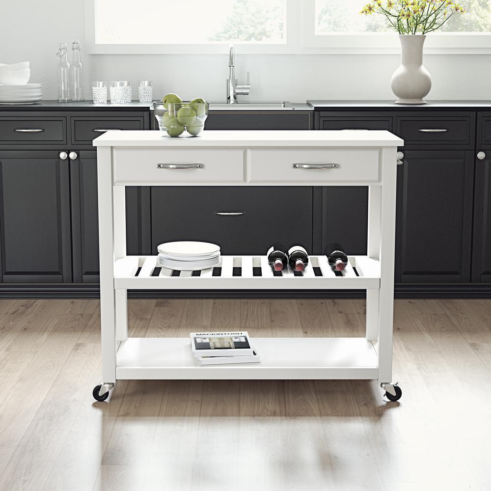 Full Size Granite Top Kitchen Prep Cart White/White. Picture 2