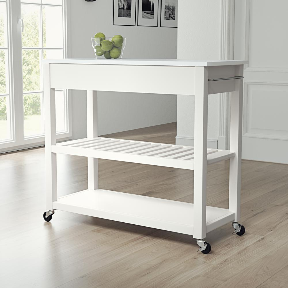 Full Size Granite Top Kitchen Prep Cart White/White. Picture 3
