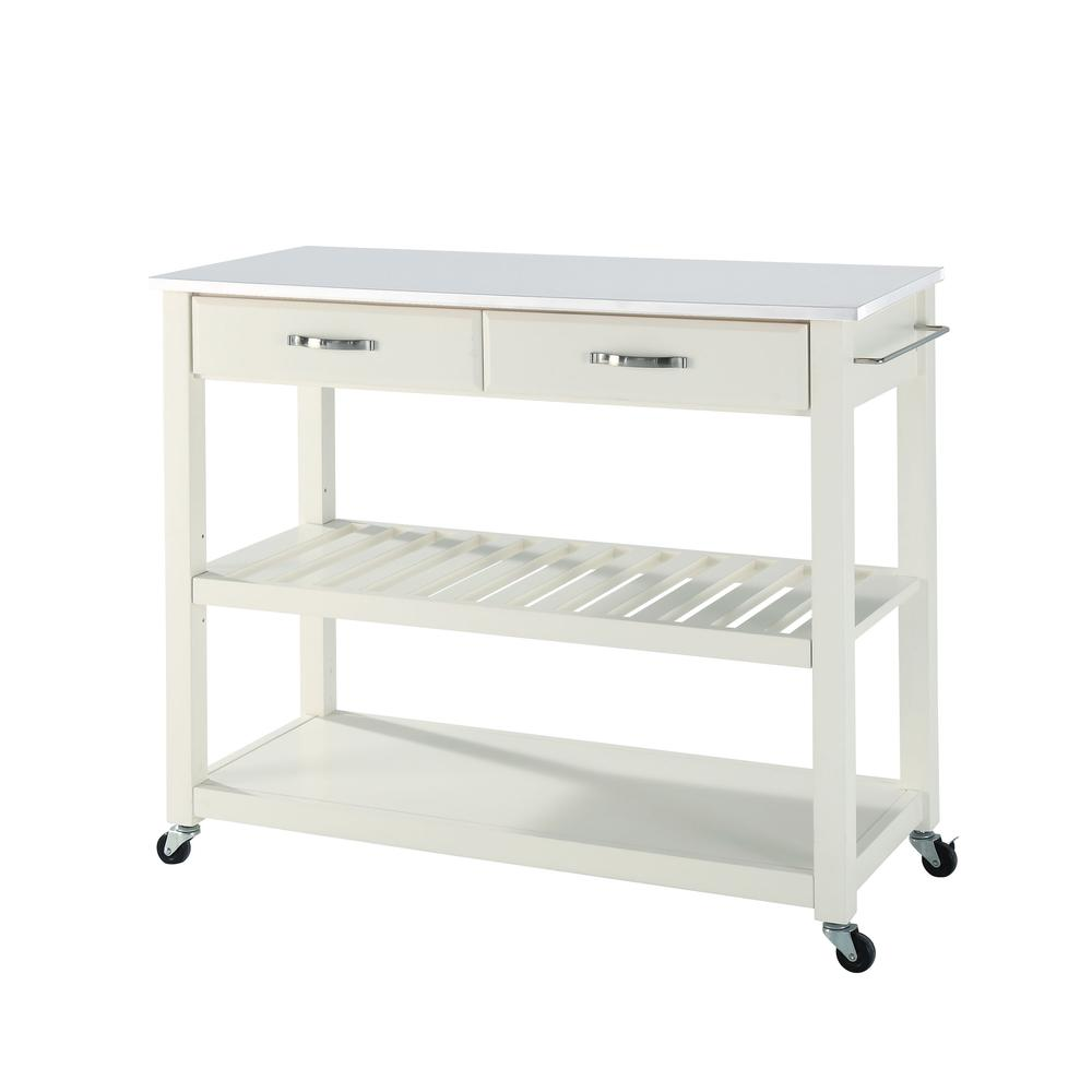 Full Size Granite Top Kitchen Prep Cart White/White. Picture 4