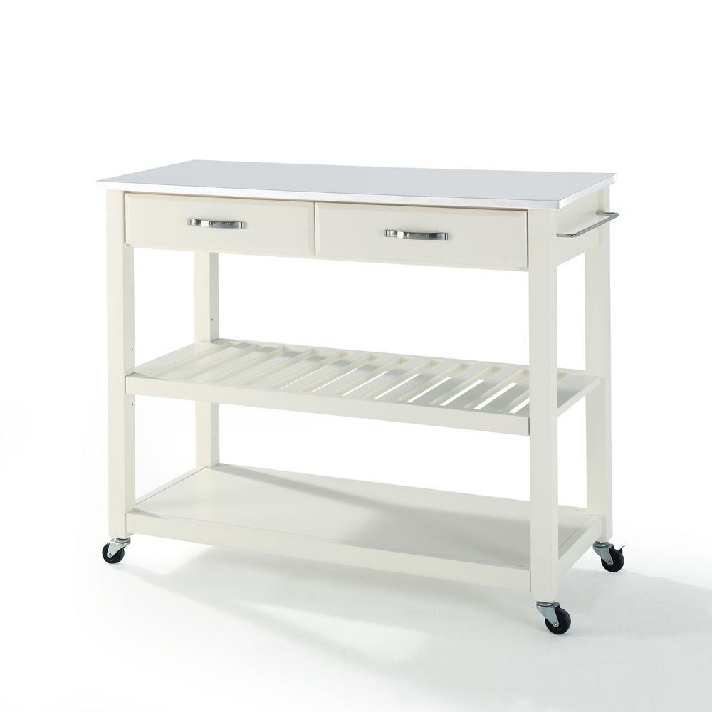 Full Size Granite Top Kitchen Prep Cart White/White. Picture 5