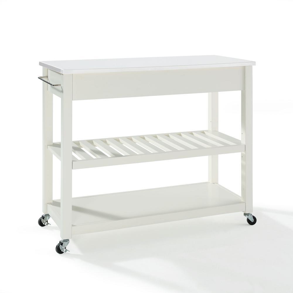 Full Size Granite Top Kitchen Prep Cart White/White. Picture 6
