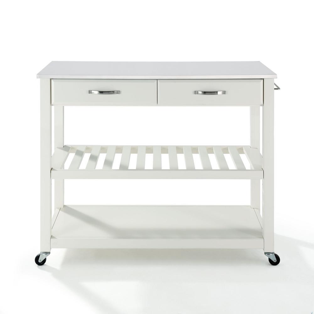Full Size Granite Top Kitchen Prep Cart White/White. Picture 7