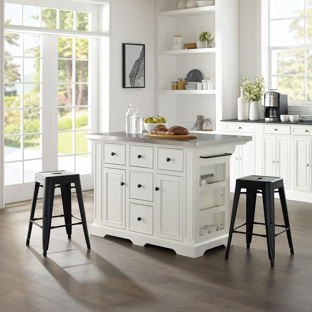 Julia Island W/Amelia Backless Stools White/Matte Black - Kitchen Island, 2 Counter Height Bar Stools. Picture 1