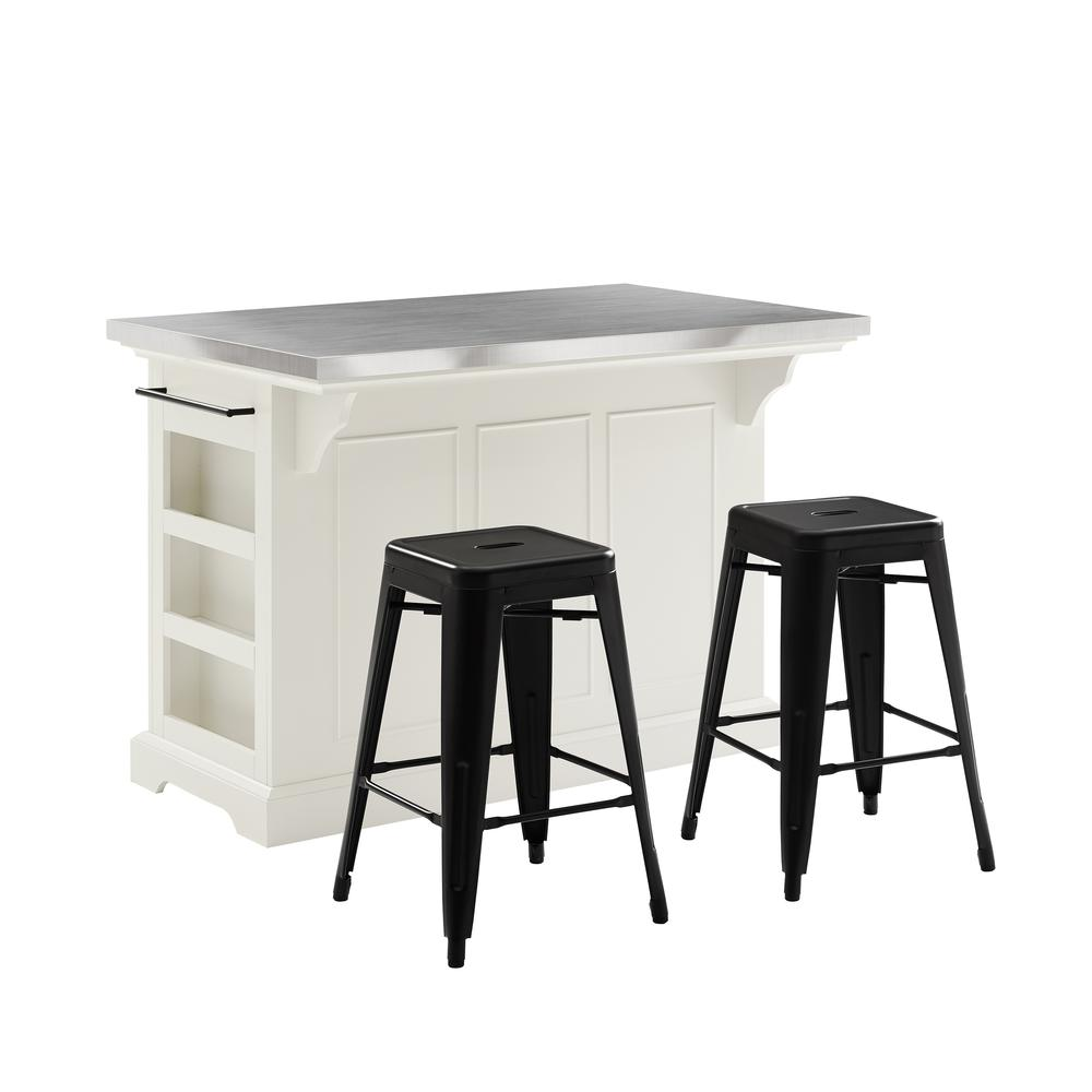 Julia Island W/Amelia Backless Stools White/Matte Black - Kitchen Island, 2 Counter Height Bar Stools. Picture 3