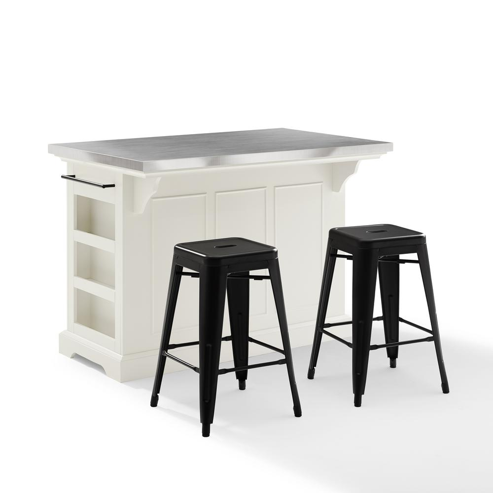 Julia Island W/Amelia Backless Stools White/Matte Black - Kitchen Island, 2 Counter Height Bar Stools. Picture 6