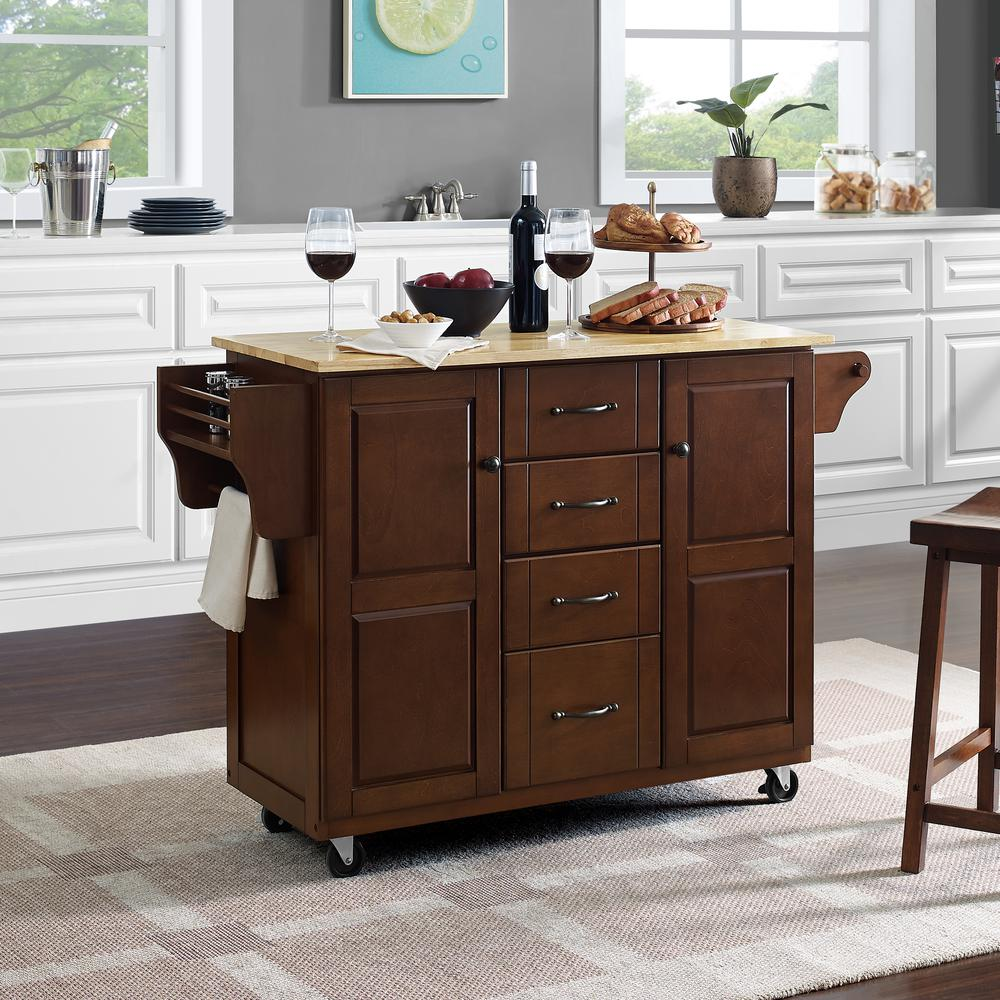 Eleanor Wood Top Kitchen Cart Mahogany/Natural. Picture 2