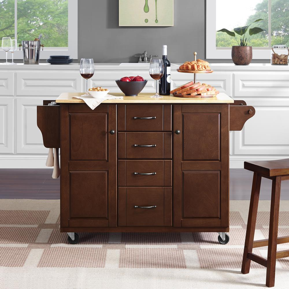 Eleanor Wood Top Kitchen Cart Mahogany/Natural. Picture 3