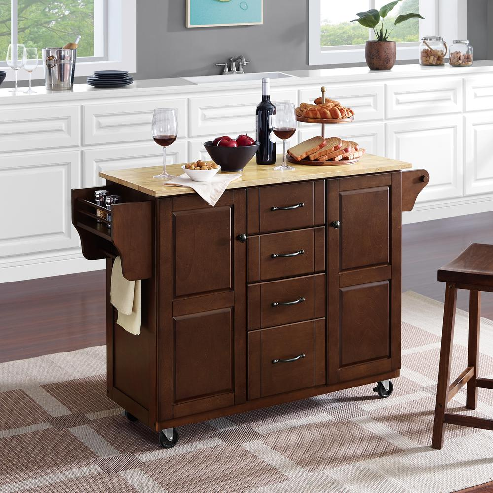 Eleanor Wood Top Kitchen Cart Mahogany/Natural. Picture 4