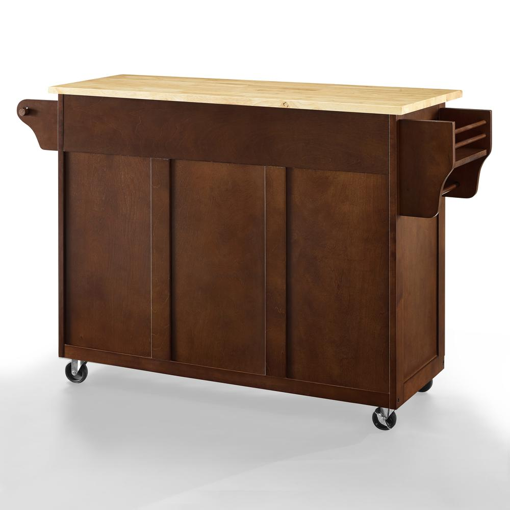 Eleanor Wood Top Kitchen Cart Mahogany/Natural. Picture 15