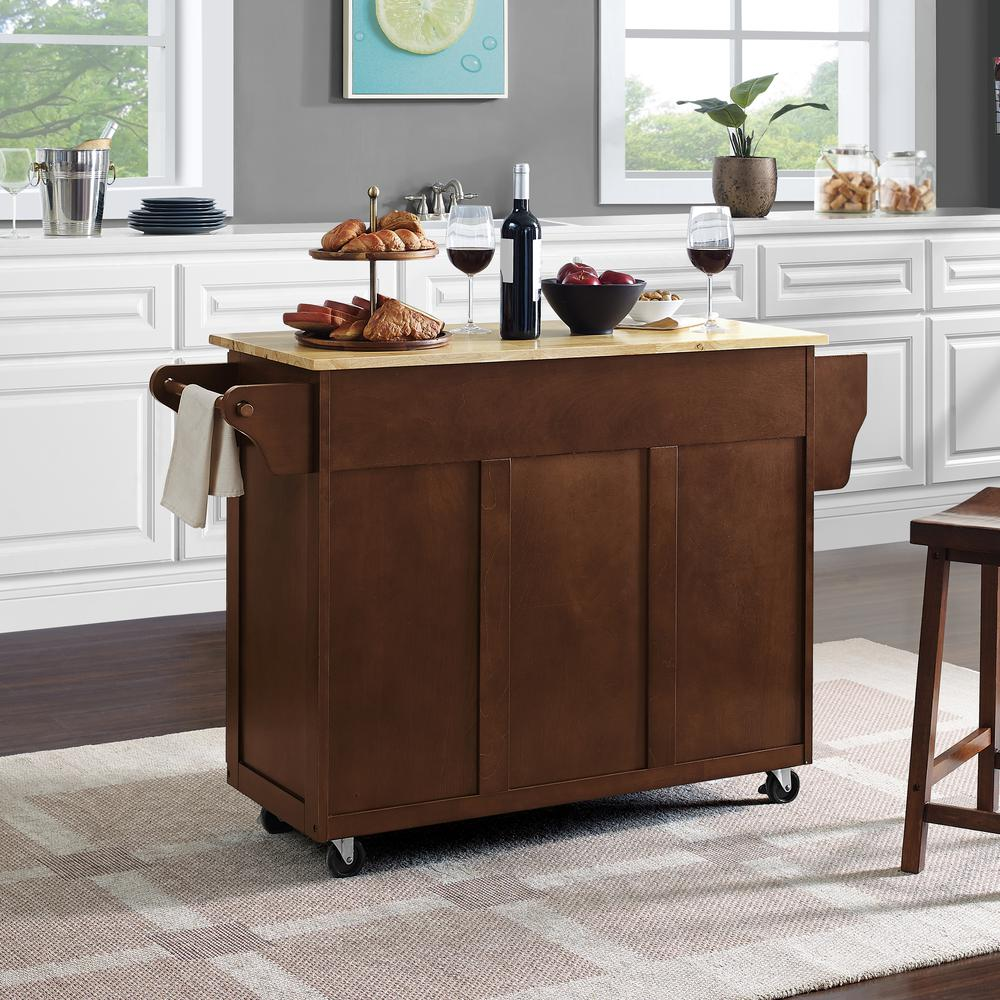 Eleanor Wood Top Kitchen Cart Mahogany/Natural. Picture 29